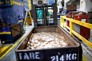 Penny blanks at the U.S. Mint in Philadelphia. Credit: Bloomberg News