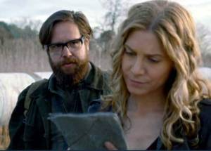 "This is just one long trek with Aaron's self-sacrificing death at the end, isn't it? Zak Orth and Elizabeth Mitchell in ""Revolution."" Credit: NBC"