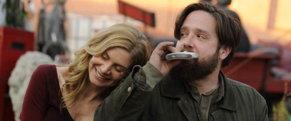 I'd drink, too, if I were on this show. Elizabeth Mitchell as Rachel Matheson, Zak Orth as Aaron. Credit: Brownie Harris/NBC