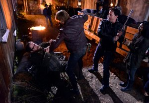 "Zak Orth getting his ass kicked (again) as Aaron in ""Revolution."" Damn, I hope they're paying you the big bucks, son. Credit: Brownie Harris/NBC"